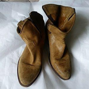 Frye Tan Short Western Suede Boot 8